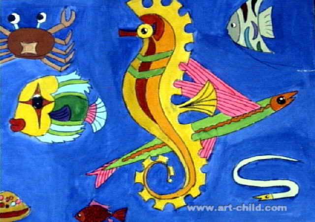 给幼儿园大班上美术课海底世界老师应该怎么导入图片