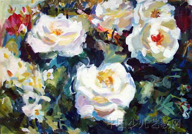 花卉儿童画4幅(第2张)