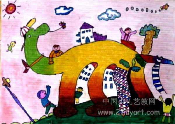 恐龙乐园儿童水粉画