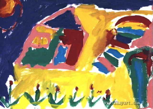 美丽的房子儿童画,此幅水粉画尺寸为454x640像素