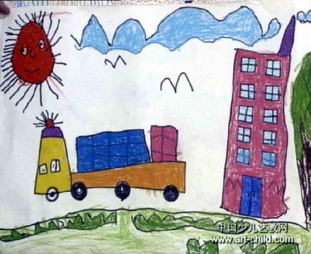 我为祖国运输忙儿童画图片