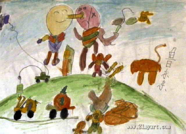 儿童画动物春节联欢晚会
