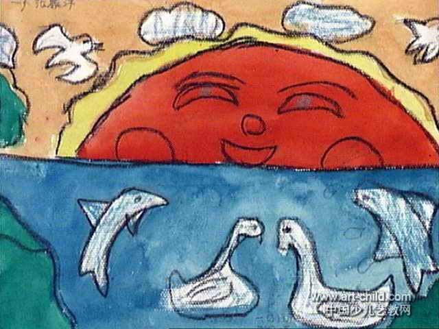 河边儿童画图片