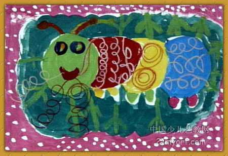 吐丝的蚕宝宝儿童画