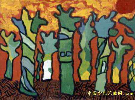 """""""树""""儿童画,此幅水粉画大小为332x450像素,作者王文娜,来自郑州市中原"""