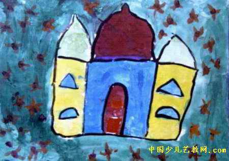 城堡儿童画属于水粉画,大小为316x450像素,作者龚玉杰,来自郑州市解放