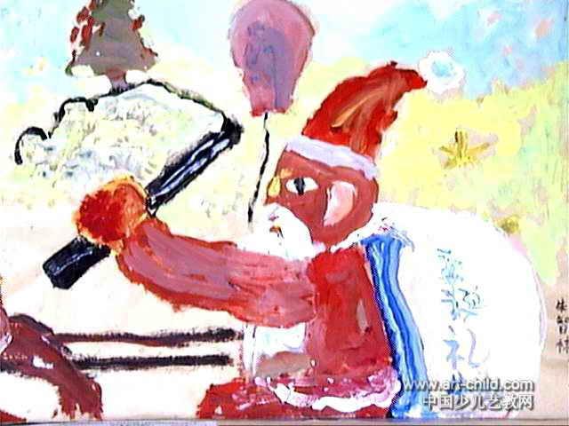 圣诞节儿童画,此幅水粉画尺寸为480x640像素