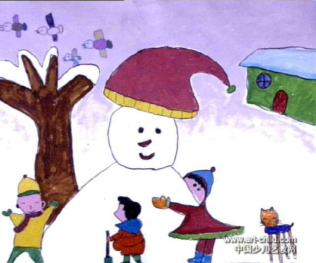 冬天里的乐趣儿童画作品欣赏