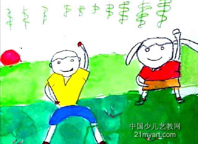 我学哥哥做操儿童画作品欣赏