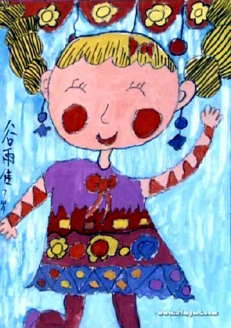 今天我表演儿童画作品欣赏