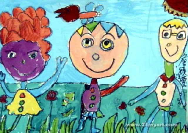快乐一家人儿童画2幅