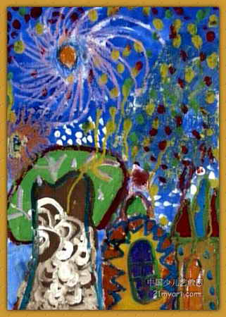 绚丽的烟花儿童画属于水粉画,长450px,宽321px,作者张一言,女,5岁,就读郑州市中原区二砂幼儿园.