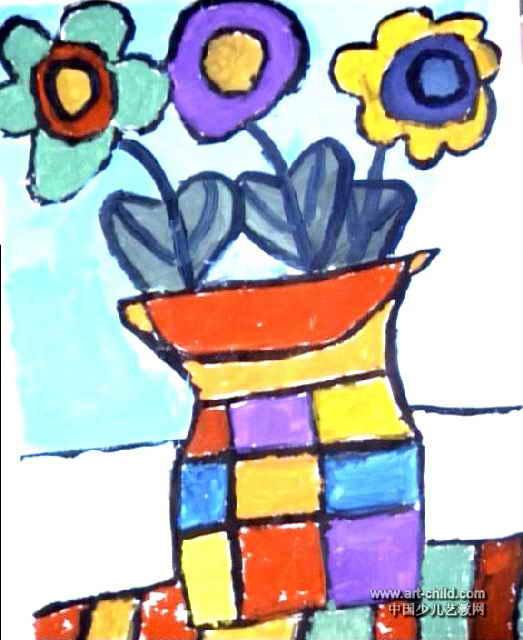 花瓶儿童画(三)5幅