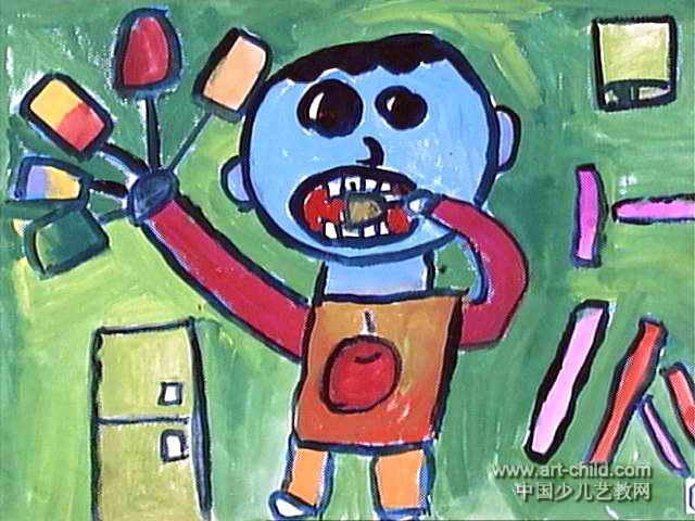 我爱吃冰激凌儿童画作品欣赏