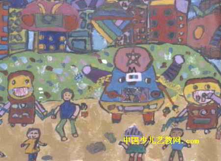 机器环卫工人儿童画