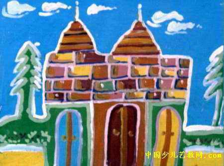 城堡儿童画属于水粉画,长334px,宽450px,作者陈晓旭,女,8岁,就读郑州