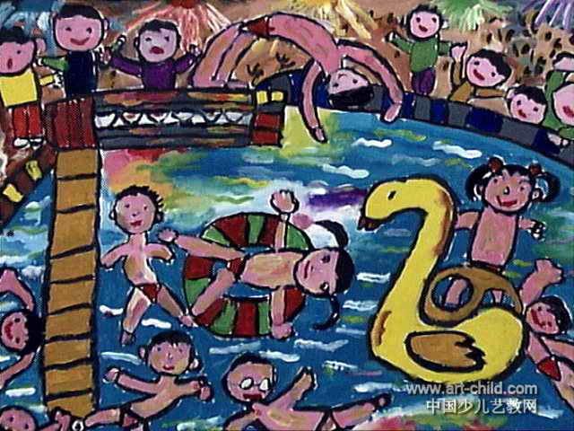 游泳儿童画11幅 第7张