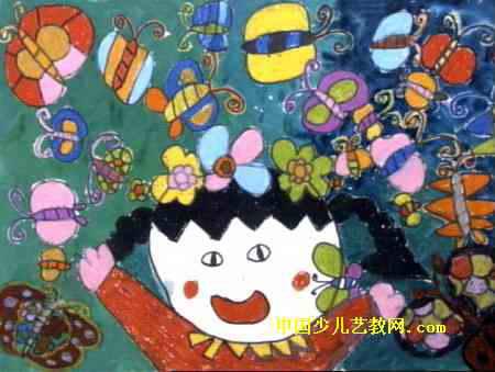 夜晚的花儿童画 动物画儿童画作品欣赏