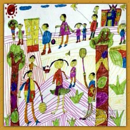 热闹的体育场儿童画作品欣赏