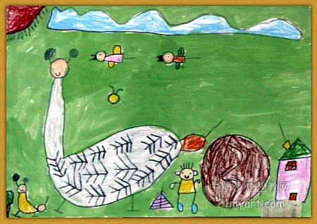 我和鸵鸟在一起儿童画