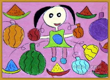 西瓜展销会儿童画