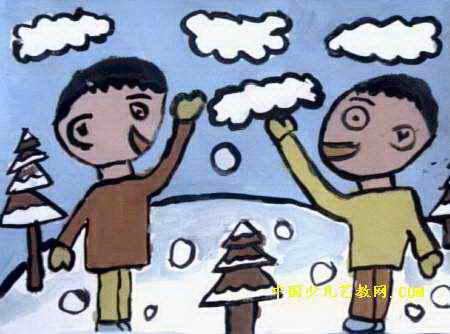 打雪仗儿童画
