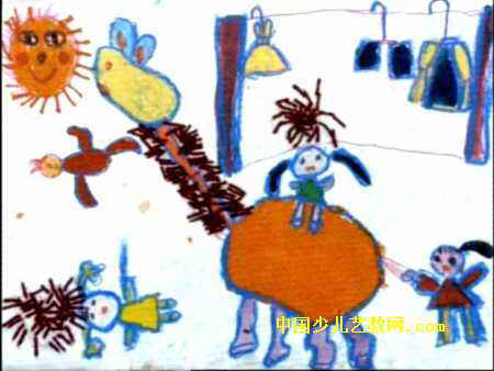 好甜的果汁儿童画作品