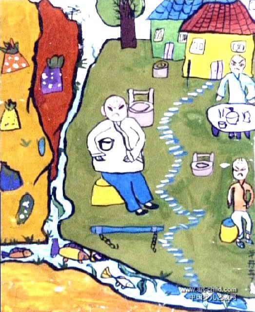 三个和尚没水喝儿童画作品欣赏