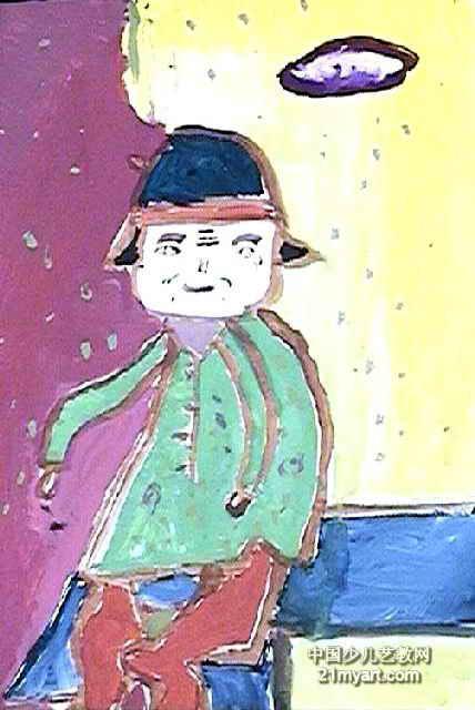 卖东西的老人儿童画