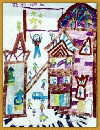 儿童画 新密市/我的城堡儿童画,这幅水粉画作品长450px,宽345px,作者杨...