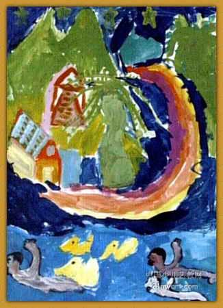 夏天的夜空儿童画属于水粉画,长450px,宽326px,作者崔书菻,男,7岁