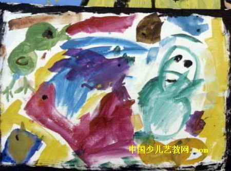 儿童画,此幅水粉画尺寸为334x450像素