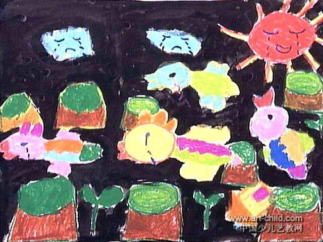 伤心的小鸟儿童画作品欣赏
