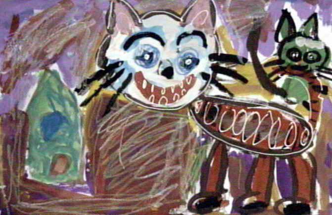 白脸猫儿童画属于水粉画