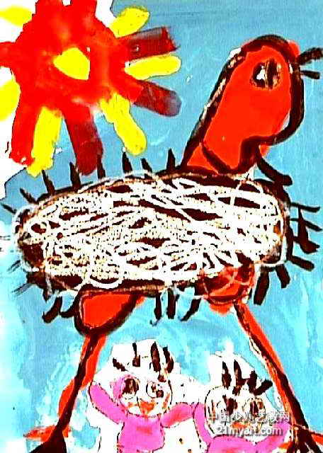 鸵鸟真高儿童画作品欣赏