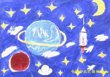 太空儿童画水粉 新年儿童画