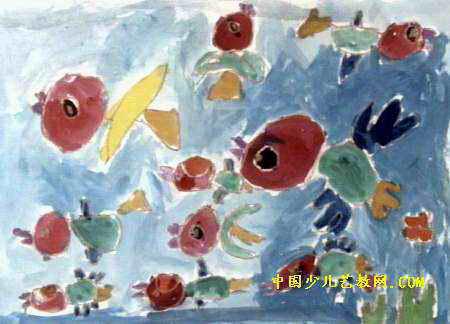 南海风光儿童画作品欣