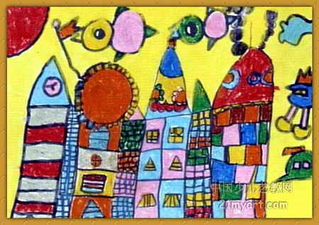 未来家园儿童画2幅