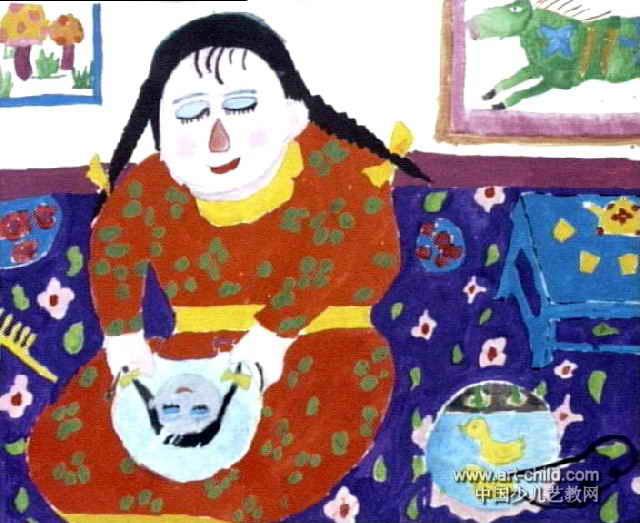 姐姐照镜子儿童画作品欣赏