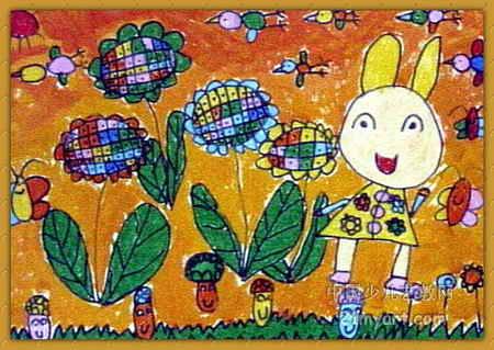 小兔的花园真漂亮儿童画