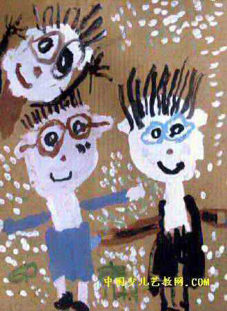 爸爸妈妈和我儿童画3幅