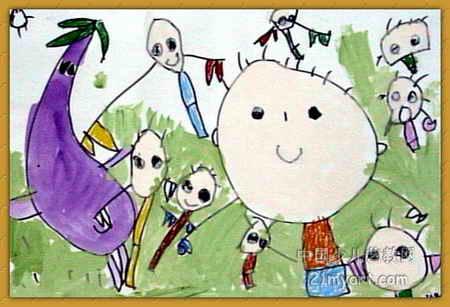 大战茄子兵儿童画