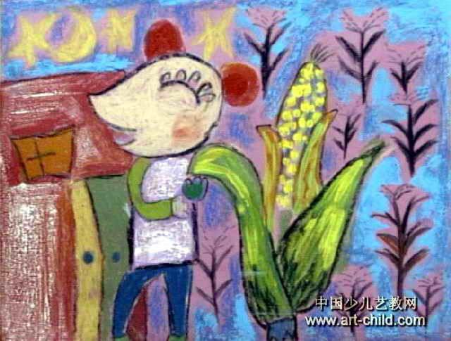 小老鼠偷玉米儿童画作品欣赏