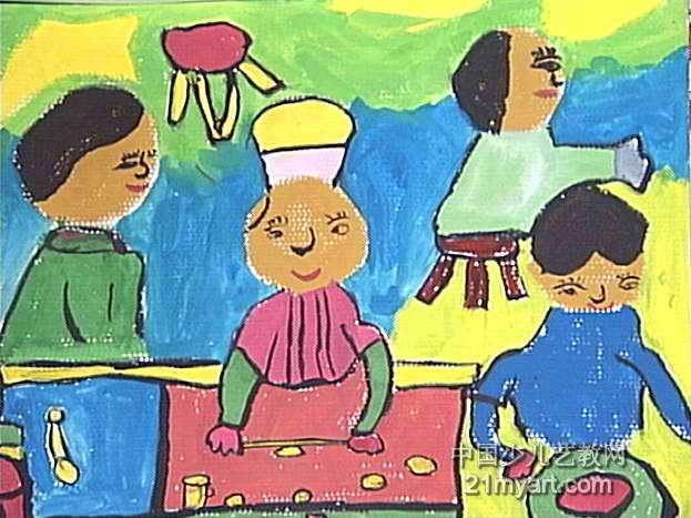 卖烧饼儿童画图片