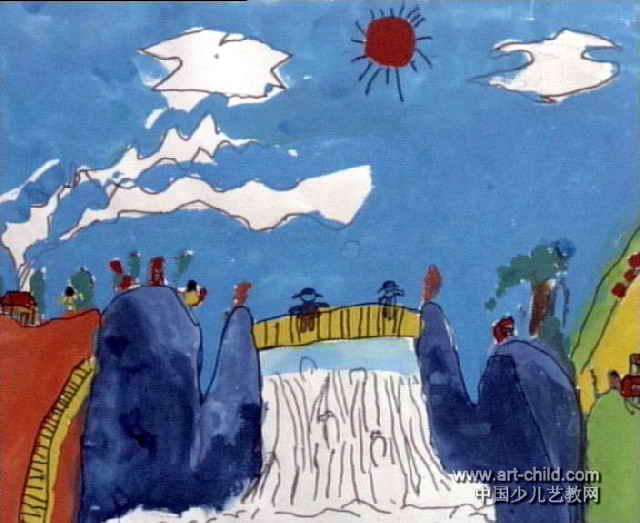美丽的山景儿童画作品欣赏