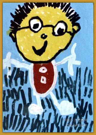 戴眼镜的爸爸儿童画