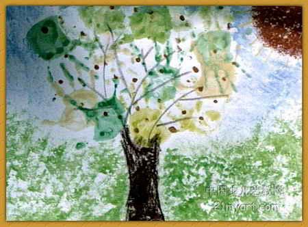 秋天的树儿童画属于水粉画,长332px,宽450px,作者檀凯,来自河南省实验