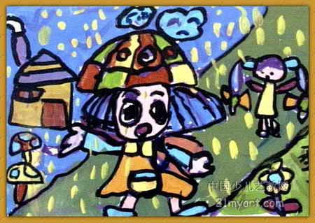 下雨啦!也要上学儿童画