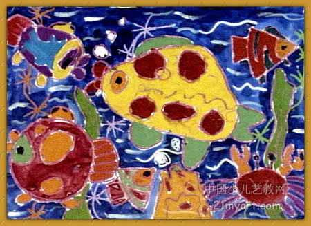 海底总动员儿童画,这幅水粉画作品长327px,宽450px,作者薜朝阳,男,5岁