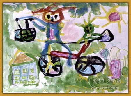 妈妈送我上幼儿园儿童画2幅